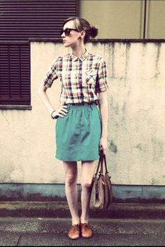 Skirt + plaid shirt
