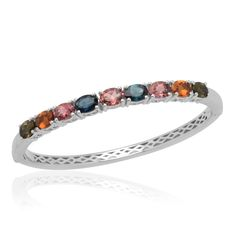 Liquidation Channel   Multi-Color Tourmaline Bangle in Platinum Overlay Sterling Silver (Nickel Free)