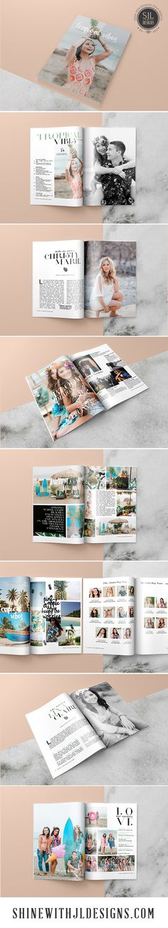 Tropical Vibes Magazine Template for Senior Photographers. 28 single page, customizable Photoshop photography marketing template. Clean, modern design. Includes cover design, contents, senior rep team, vendor contributors and more. Perfect for your styled senior rep or senior model shoots! 8.5 x 11 size booklet. Images by @cmr2323