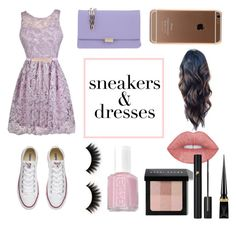 """""""Sneakers and Dresses: A Flash of Purple"""" by tess384 on Polyvore featuring Converse, Coccinelle, Essie, Bobbi Brown Cosmetics, Christian Louboutin and Lancôme"""