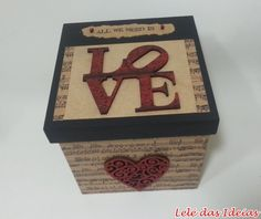 Lelé das Ideias - Caixa para CDs LOVE Wooden Crafts, Diy And Crafts, Decoupage Box, Box Houses, Altered Boxes, Wooden Boxes, Painting On Wood, Stencils, Decorative Boxes