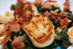 Scallops with Bacon, Shrimp, and Spinach