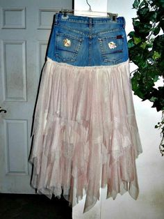Items similar to Petite Ballerine bohemian jean skirt Seven for All Mankind blush pink tulle frou frou Made to Order fairy goddess Renaissance Denim Couture on Etsy Semi Formal Dresses For Wedding, Diy Tulle Skirt, Diy Fashion, Fashion Outfits, Beautiful Outfits, Beautiful Clothes, Frou Frou, Lace Jacket, Denim And Lace