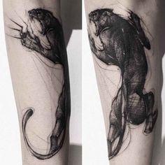 Tattoo Panther by BK Tattooer Black Tattoos, Body Art Tattoos, New Tattoos, Sleeve Tattoos, Cool Tattoos, Tatoos, Jaguar Tattoo, Tiger Tattoo, Black Panther Tattoo