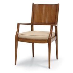 """ARDEN DINING CHAIR -  Mahogany wood frame in a chestnut brown finish. Mahogany veneer on inner and outer back with an upholstered seat cushion. 22.75""""w x 25.25""""dp x 36.25""""h Arm Front: 25""""h; Seat: 19""""h"""