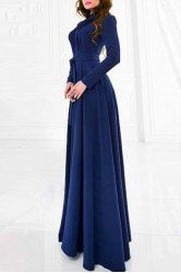 Elegant Blue Floor-Length Long Sleeve Dress For Women