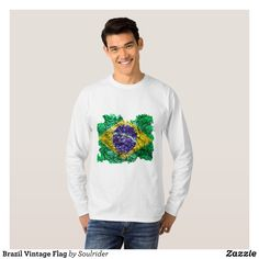 Brazil Vintage Flag T-Shirt - Heavyweight Pre-Shrunk Shirts By Talented Fashion & Graphic Designers - #sweatshirts #shirts #mensfashion #apparel #shopping #bargain #sale #outfit #stylish #cool #graphicdesign #trendy #fashion #design #fashiondesign #designer #fashiondesigner #style