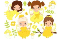 Vector Fairy Girls Set Graphics Fairy Clipart - Digital Vector Fairy, Girl, Fairytale, Amanita, Flower, Yellow, Fairy Clip Art for P by Tanita_B