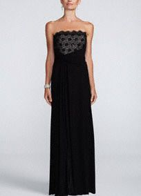 Take elegant and modern to the next level in this gorgeous long jersey lace dress! Strapless bodice features delicate lace detail. Empire waist helps a stunning silhouette. Long jersey skirt is flowy and comfortable. Fully lined. Back zip. Imported polyester. Dry clean. Available in Plus sizes as Style 643549W.A popular neckline for brides seeking a stylish and versatile look (offering unlimited jewelry and accessory options).A bodice with a high waistline directly below the bust. A great…