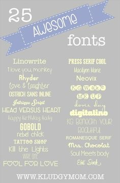 25 fonts for your printables and presentations