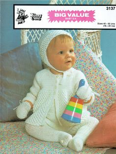 Woolworth 3137 pram suit baby vintage knitting pattern Listing in the Baby & Children,Patterns,Knitting & Crochet,Crafts, Handmade & Sewing Category on eBid United Kingdom Knitting For Kids, Baby Knitting Patterns, Crochet Patterns, Pram Sets, Baby Prams, Quick Knits, Vintage Knitting, Knit Crochet, Crochet Crafts