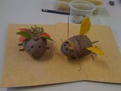 Primary teaching, elementary teaching, cute little mini beasts made from clay and gathered leaves and twigs