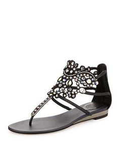 Crystal-Chandelier Thong Sandal, Black by Rene Caovilla at Neiman Marcus.