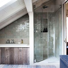 Small spaces, HUGE inspiration. Wondering how to fit a bath and a shower in to a small, sloped attic space? Take inspiration from this design by Todhunter Earle.