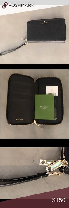 Kate Spade Brand new Kate Spade Tiera grey street double zip phone wallet. Very soft pebbled leather.  Great for a night out when you don't want to carry a large handbag. kate spade Bags Wallets
