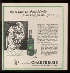 1958 Carthusian monk & bottle art Chartreuse green liqueur vintage print ad