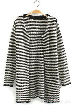 Stripe Print Open Front Mohair Sweater