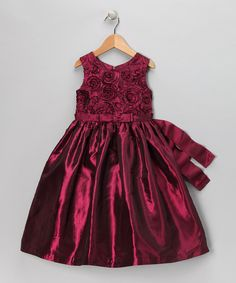 Take a look at this Jayne Copeland Maroon Rosette Dress - Infant, Toddler & Girls on zulily today!