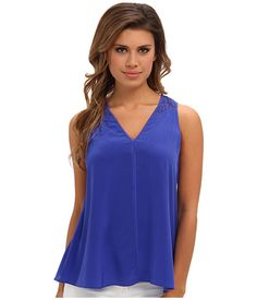 Rebecca Taylor S/S V Top w/ Lace Back Royal - Zappos.com Free Shipping BOTH Ways