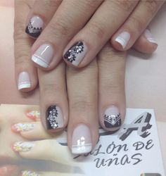French with Black Design Accent Nails