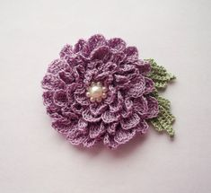 lilac brooch lilac crochet brooch flower brooch by SuzieSue1972, £7.50