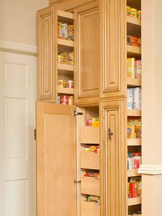 They replaced the walk-in pantry with a 21-inch deep pantry unit that features an array of pullout storage options that prevent items from getting lost. The new unit is accessible from both the kitchen and the adjacent dining room.