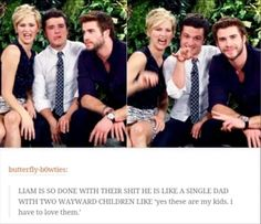 Jennifer Lawrence, Josh Hutcherson, and Liam Hemsworth. Haha!! Jennifer and josh are so funny!