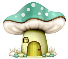Dibujos. Clipart. Digi stamps - Green Mushroom House