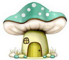 Dibujos. Clipart. Digi stamps - Green Mushroom House