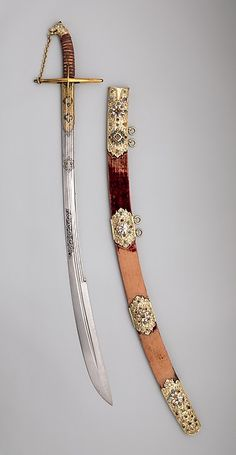 polish karabela Saber with Scabbard and Carrying Belt, early century. The Metropolitan Museum of Art, New York. Bashford Dean Memorial Collection, Funds from various donors, 1929 b) Swords And Daggers, Knives And Swords, Katana Swords, Armas Ninja, Landsknecht, Medieval Weapons, Arm Armor, Fantasy Weapons, Metropolitan Museum