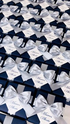 Navy blue wedding favor box with silver satin ribbon bow and custom names, Elegant bonbonniere. Personalized gift boxes make a unique way to thank guests for attending your special day. #welcomebox #giftbox #personalizedgifts #weddingfavor #weddingbox #weddingfavorideas #bonbonniere #weddingparty #sweetlove #favorboxes #candybox #elegantwedding #partyfavor #navybluewedding #bluewedding #giftboxes #uniqueweddingfavors #uniqueweddingideas #silverwedding