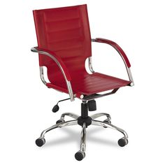 Safco Flaunt Series Manager's Chair Mid-Back - Red/Chrome