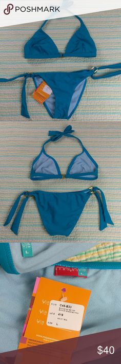 NWT Maya L Teal Blue Gold Buckle Halter Bikini NWT Maya Sz L Teal Blue Gold Buckle Halter Top Tie Side Bottom Two Piece Bikini Maya Swim Bikinis