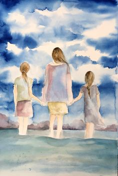 mother and and two daughters by the ocean by claudiatremblay on Etsy