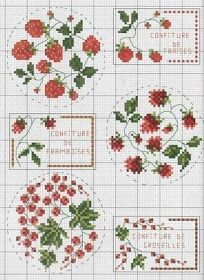 Free Cross Stitch Pattern Vintage Strawberry Jam Labels This would be nice to use on a french jam jar glass to give as a gift. Cross Stitch Fruit, Cross Stitch Kitchen, Cross Stitch Love, Cross Stitch Borders, Cross Stitch Flowers, Cross Stitch Charts, Cross Stitch Designs, Cross Stitching, Cross Stitch Embroidery