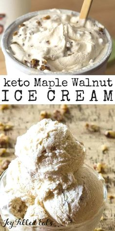 Maple Ice Cream with Candied Walnuts - Low Carb Keto Gluten-Free Grain-Free Sugar-Free THM S - This takes the classic Maple Walnut Ice Cream to a whole new level. It is rich and creamy with the sweet crunch of the candied nuts. Keto Friendly Ice Cream, Keto Friendly Desserts, Sugar Free Desserts, Low Carb Desserts, Dessert Recipes, Keto Foods, Helado Keto, Comida Keto, Low Carb Ice Cream