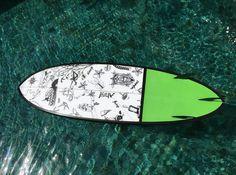"""Paint job done ready to catch some waves"" #illustrations #balistyle #impressionsofbali #blackandwhiteillustration #surfboard #surfboardart #theartofdoingholidays #meandmysurfboard #eatsurfsleeprepeat"