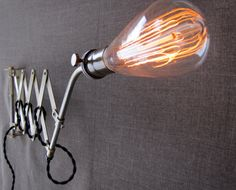 Minimalist Bare Bulb Scissor Lamp by HbernationRstoration on Etsy, $160.00