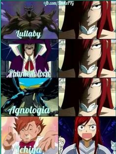 Lullaby, Phantom Lord, Agnologia, Ichiya, Erza, funny, text, comic; Fairy Tail