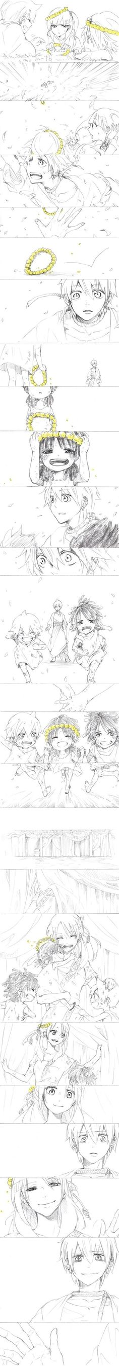 Alibaba, Morgiana, Aladdin, Cassim, Mariam, and Anise        ~Magi: The Labyrinth of Magic
