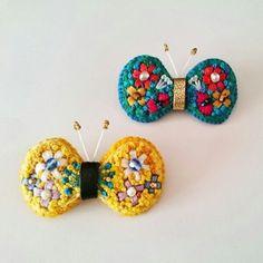 花刺繍の蝶のブローチ★イエロー