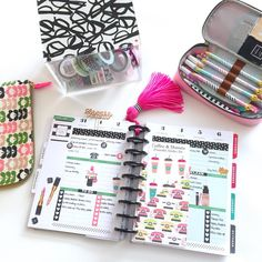 """Vanessa Ponce ❤️ on Instagram: """"Planner pages for next week in @the_happy_planner   All planner tassels, pom poms, keychains, and dashboards are 25% off in my Etsy shop! Use coupon code FALL2015 at checkout. While supplies last! Save 10% on your entire order of Heart Checklist stickers and many other planner stickers from @willowfields_ using coupon code HAUTEPINKFLUFF10 """""""