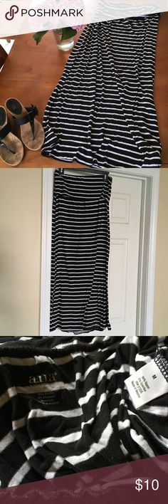 Striped black maxi skirt This black maxi skirt has white stripes. Brand is a.n.a, size medium. Super comfortable, great to travel in! a.n.a Skirts Maxi