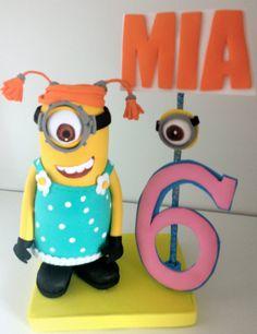 Despicable me  minions centerpiece cake topper  Birthday decor Stuart Minion on Etsy, $26.00