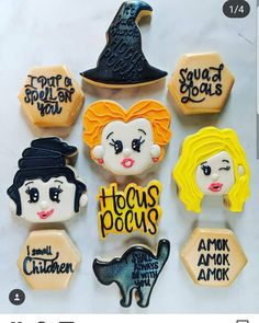 Hocus Pocus cookies -- if you can't do them yourselves, someone on Etsy can! Halloween Cookies Decorated, Halloween Sugar Cookies, Halloween Baking, Halloween Desserts, Halloween Cakes, Halloween Treats, Decorated Cookies, Halloween Halloween, Fall Cookies