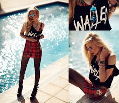 Lovelysally Tartan Dress, Le Specs Sunglasses, Wasted Top