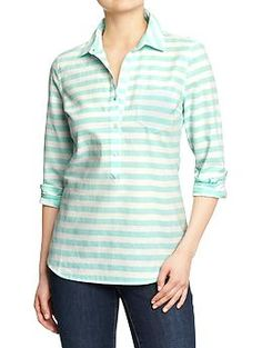 Buttons end half-way so there's extra moving room! Womens Striped Oxford Pullovers