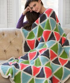 Colorful Triangle Throw Free Crochet Pattern in Red Heart Yarns