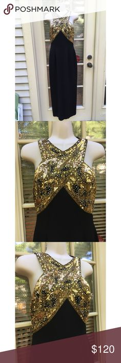 ✨ One of a Kind Vintage Black & Gold Evening Gown - Absolutely gorgeous one of a kind vintage evening gown - Black with gold beading & sequins throughout, in perfect condition no beads missing - Zipper down the back, which zips about half way down dress  - Not very heavy, lightweight feel  - Gorgeous X design makes this very flattering  - Slit along back of dress, begins at 2 ft 9 inches  - Length: 4 ft 3 in - Material: 100% polyester, dry clean only - Size: 6 , true to size  - Brand…