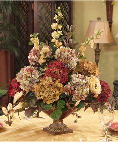 Faux Hydrangea Large Silk Floral Centerpiece AR111-175 - Click Image to Close